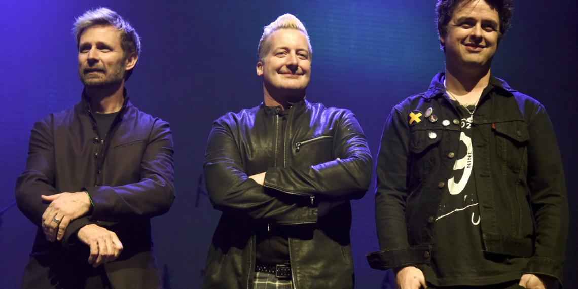 OAKLAND, CA - FEBRUARY 19:  (L - R) Mike Dirnt, Tre Cool, and Billie Joe Armstrong of Green Day attend a Tribute to Green Day's Dookie at the Fox Theater on February 19, 2016 in Oakland, California.  (Photo by Tim Mosenfelder/Getty Images)