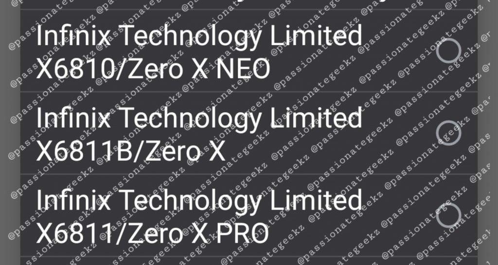 Infinix Zero X List